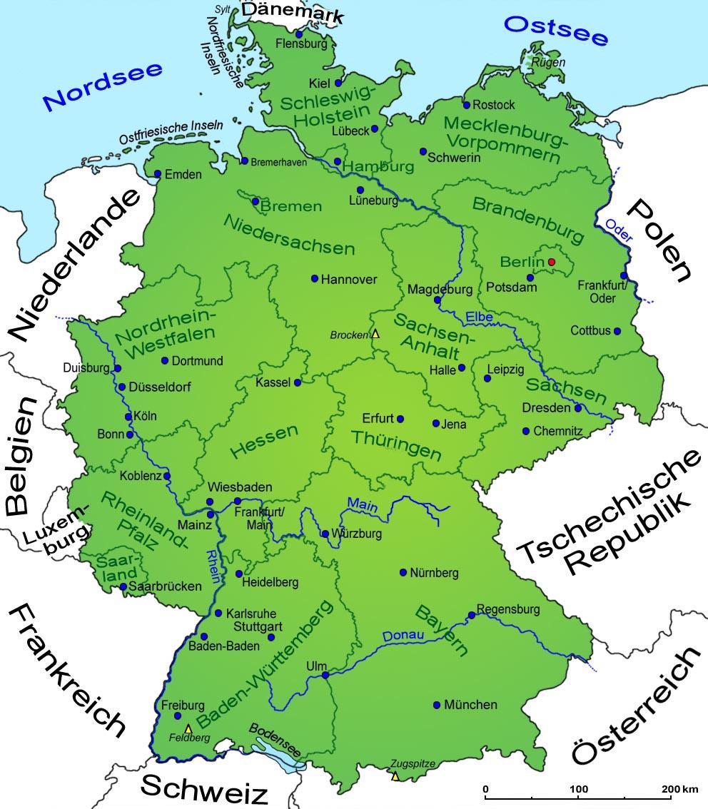 Deutschland: Geografie, Landkarte | Länder | Deutschland in Welche Länder Grenzen An Deutschland