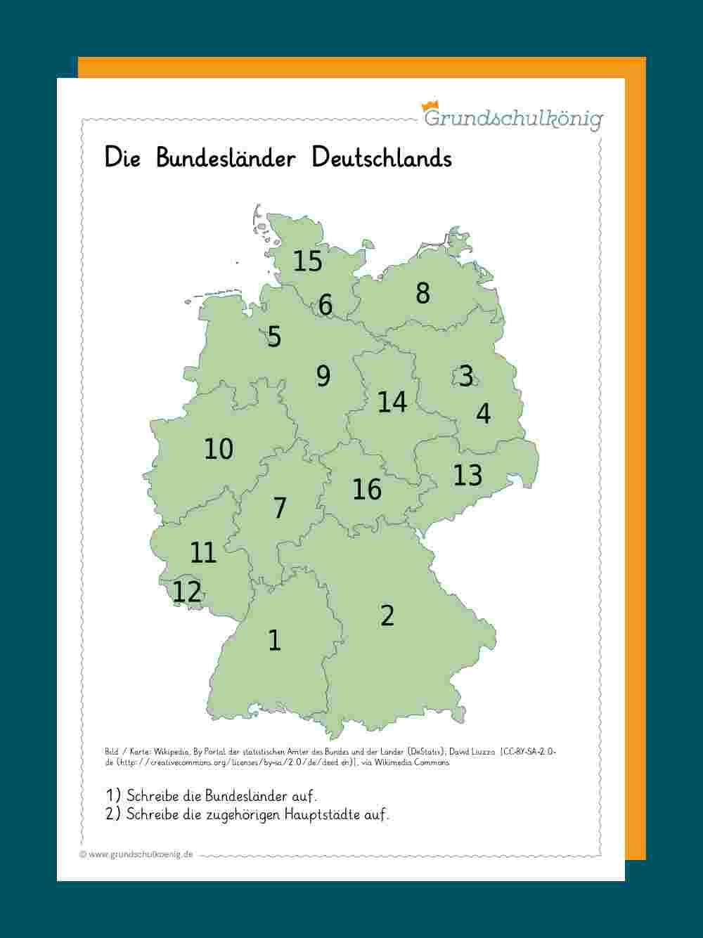 Deutschland in 16 Bundesländer Und Ihre Hauptstädte Test