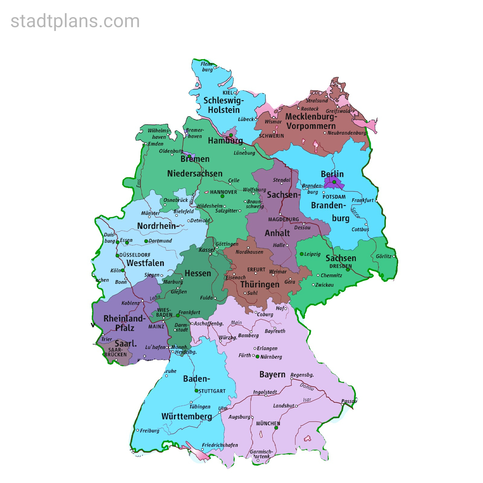 Deutschland Karte Bundesländer | Stadtplan bestimmt für Deutschland Karte Bundesländer Und Hauptstädte