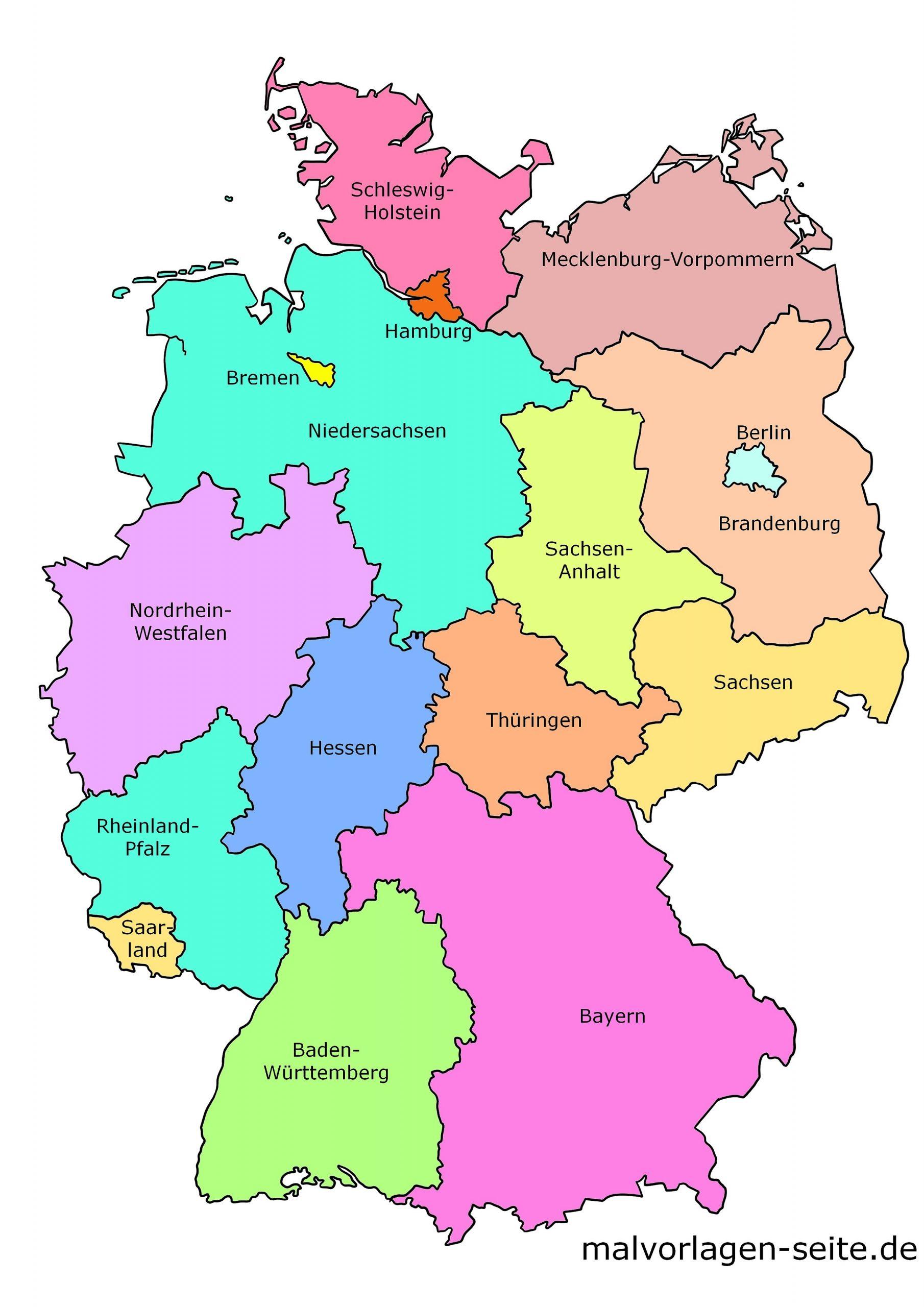 Deutschland Landkarte Der Bundesländer - Politsche Karte bei Deutschlandkarte Bundesländer Blanko