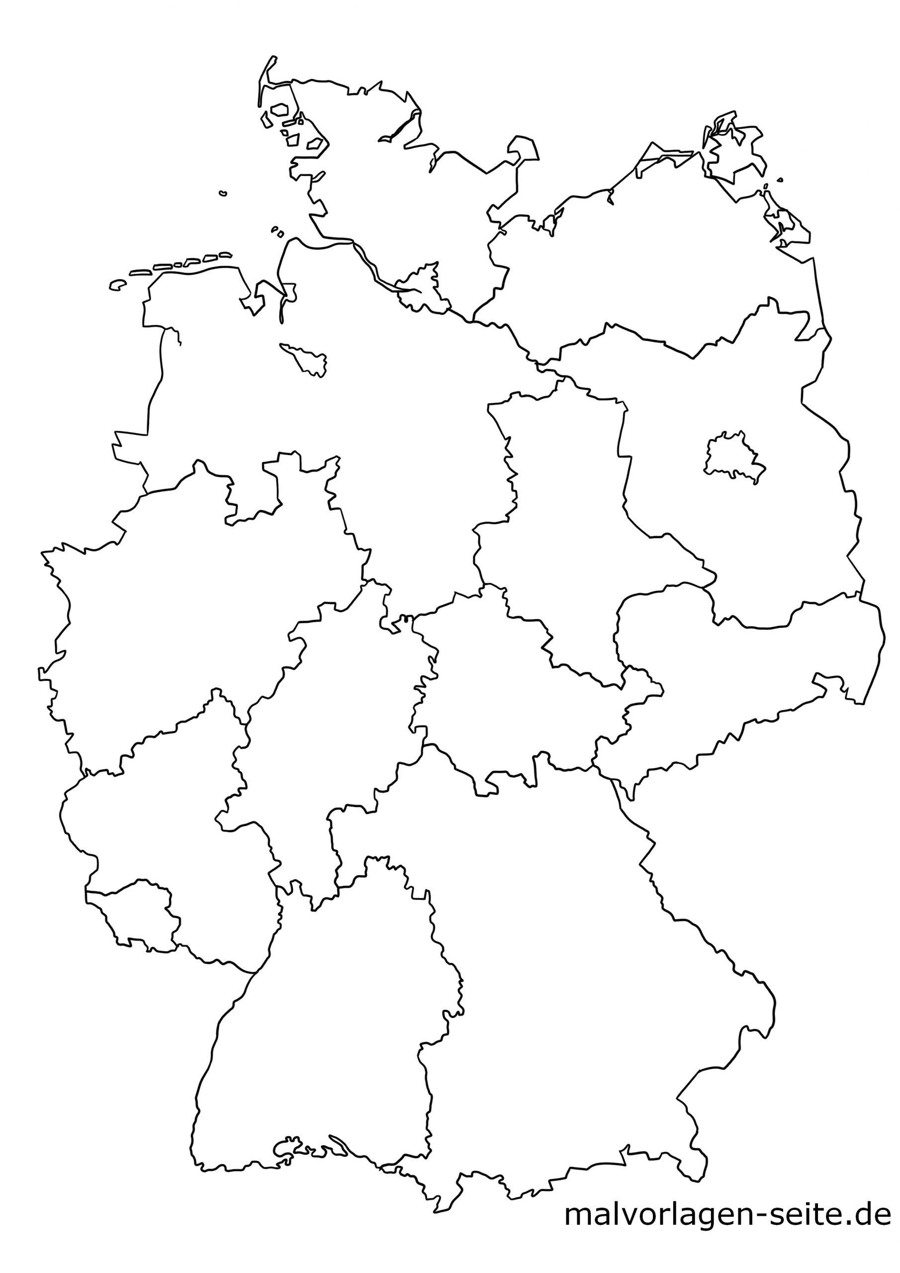 Deutschland Landkarte Der Bundesländer - Politsche Karte bei Deutschlandkarte Zum Ausmalen