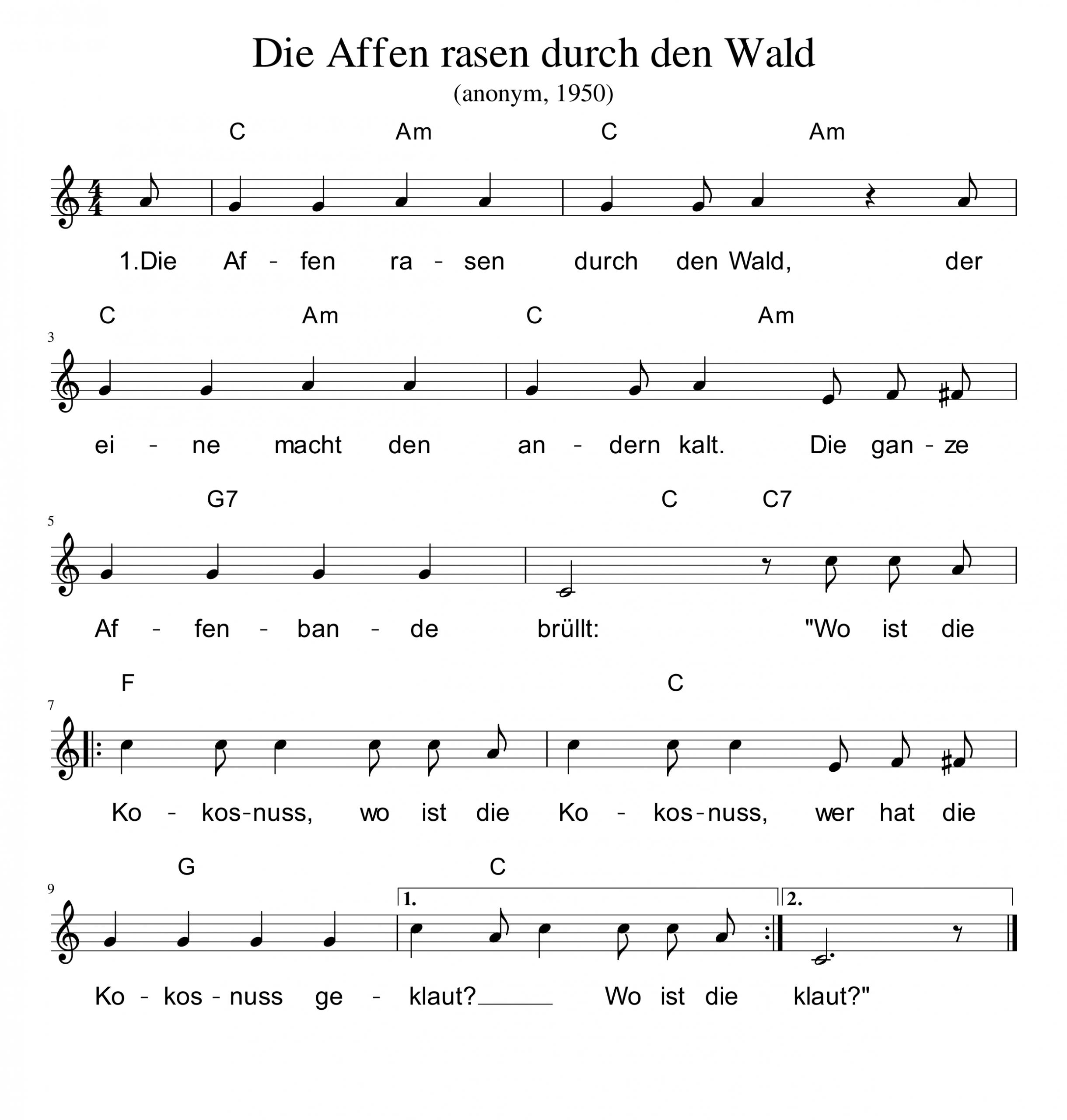 Deutschland-Lese | Die Affen Rasen Durch Den Wald mit Die Affen Rasen Durch Den Wald Noten