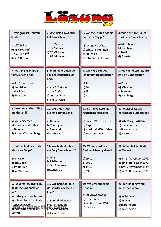Deutschland Quiz Arbeitsblatt - Kostenlose Daf ganzes Quiz Allgemeinwissen Zum Ausdrucken