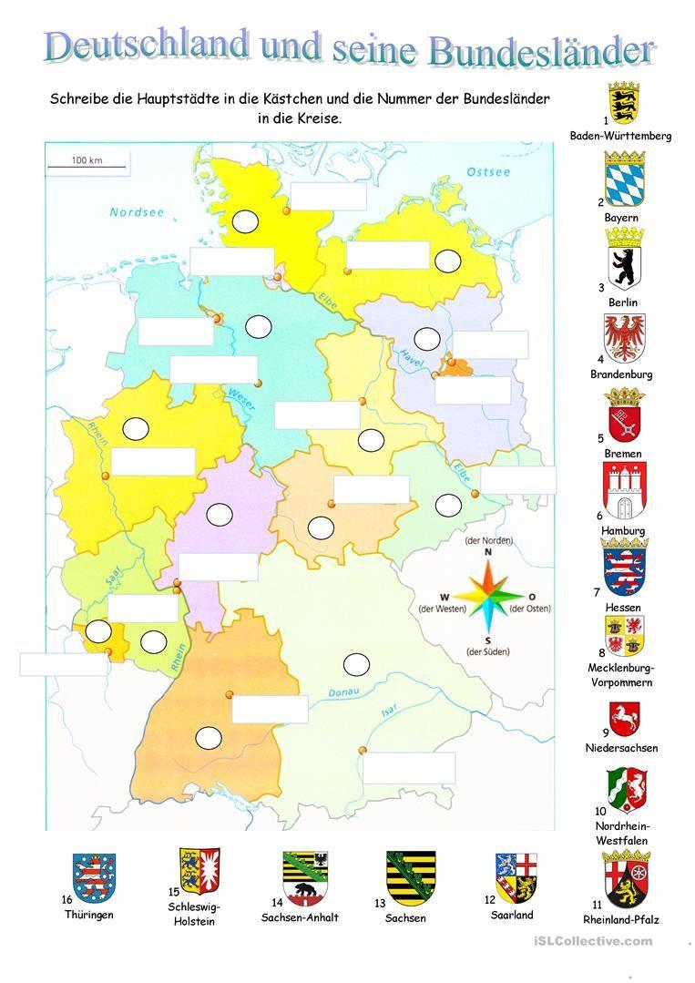 Deutschland Und Seine Bundesländer | Deutsche Grammatik in Bundesländer Deutschland Mit Hauptstädten Lernen