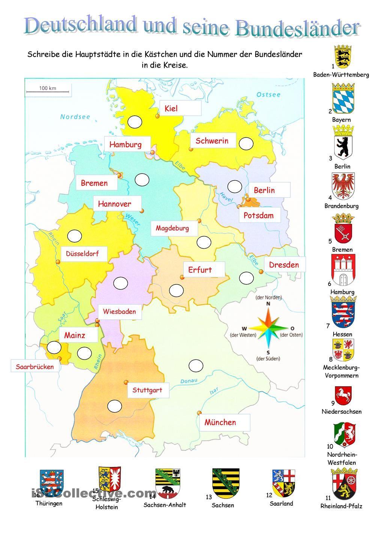 Deutschland Und Seine Bundesländer (Mit Bildern) | Deutsche verwandt mit Bundesländer Der Brd Und Ihre Hauptstädte