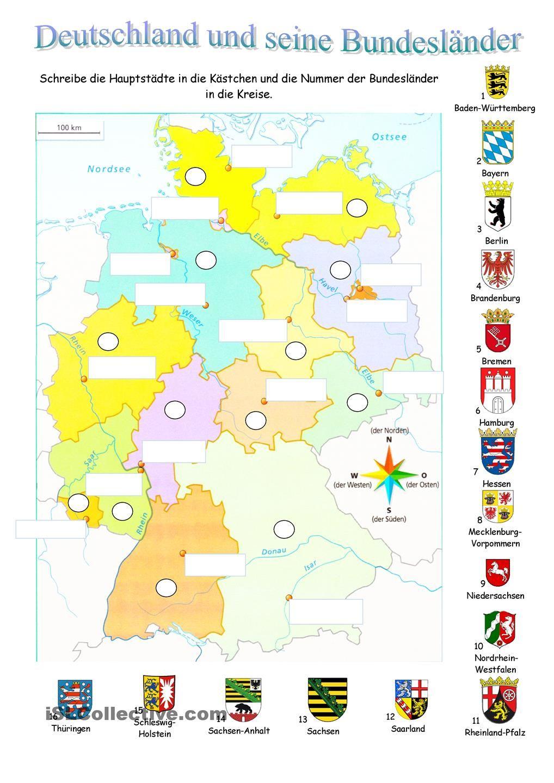 Deutschland Und Seine Bundesländer   Undervisning, Tysk für Deutschland Karte Bundesländer Hauptstädte