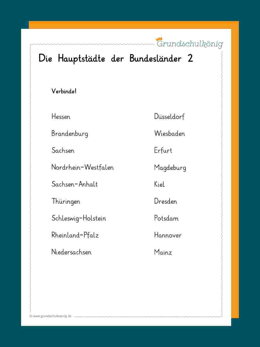 Deutschland verwandt mit 16 Bundesländer Und Ihre Hauptstädte Liste