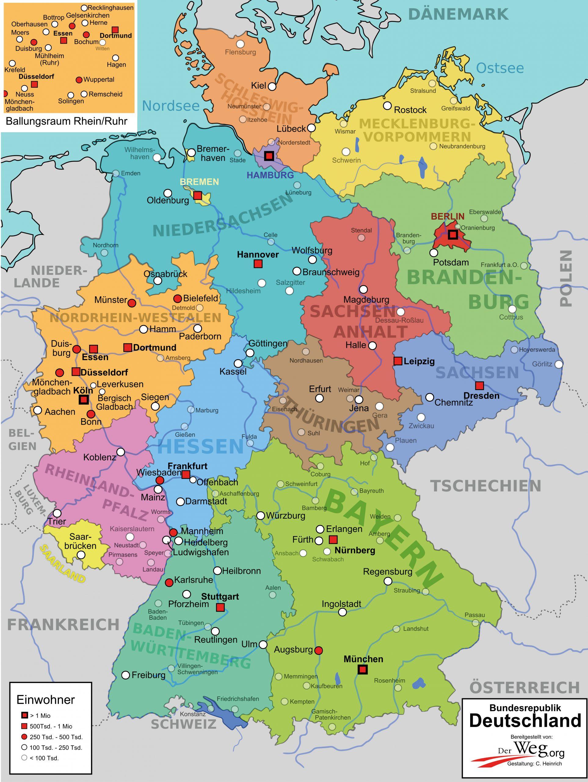 Deutschlandkarte | Der Weg für Deutschlandkarte Mit Bundesländern Und Städten