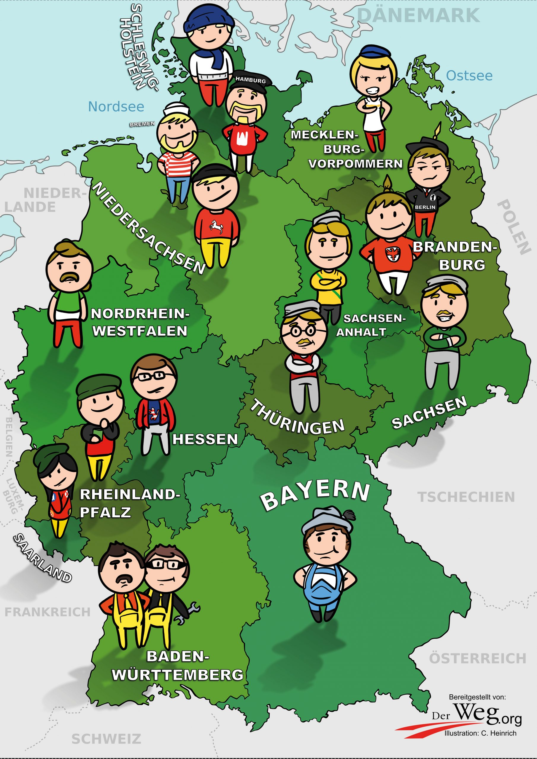 Deutschlandkarte   Der Weg in Deutschlandkarte Mit Bundesländern Und Städten