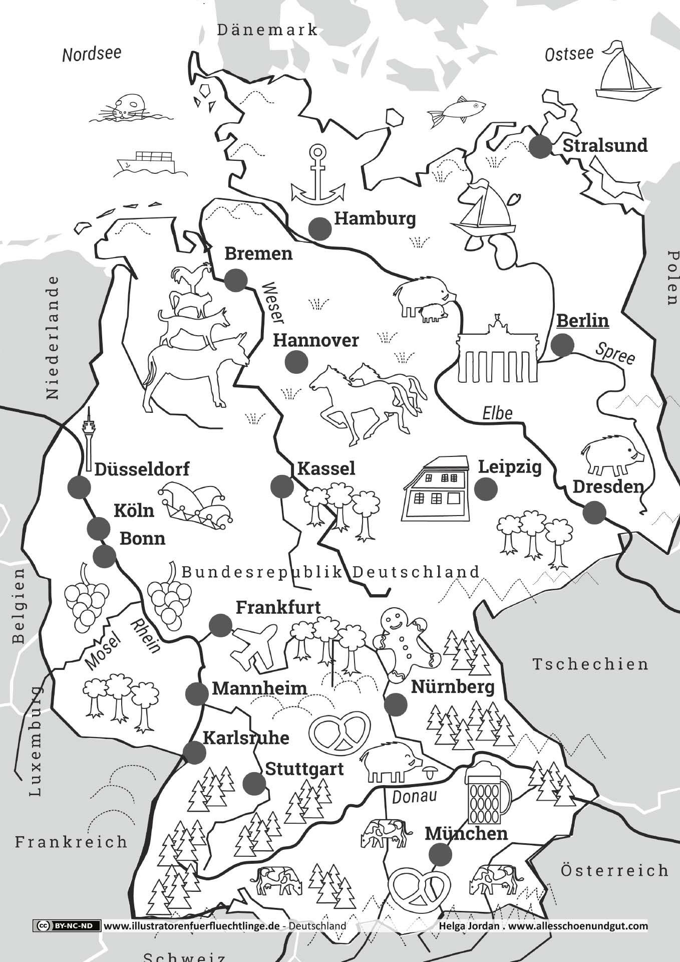 Deutschlandkarte | Deutschland, Schulideen, Karte Deutschland mit Deutschlandkarte Zum Ausmalen