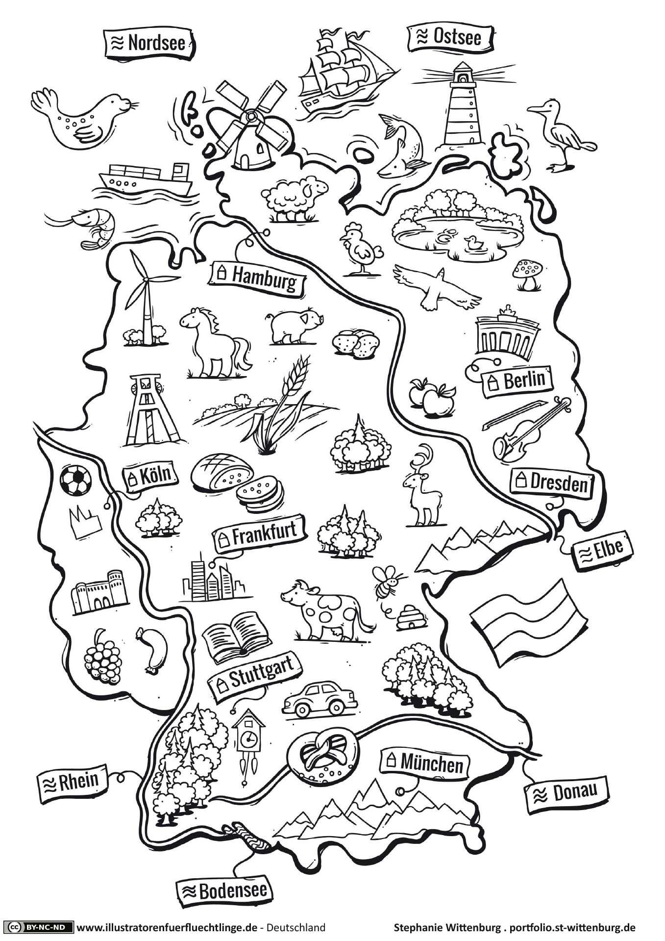 Deutschlandkarte (Mit Bildern) | Deutschland, Schule bestimmt für Deutschlandkarte Zum Ausmalen