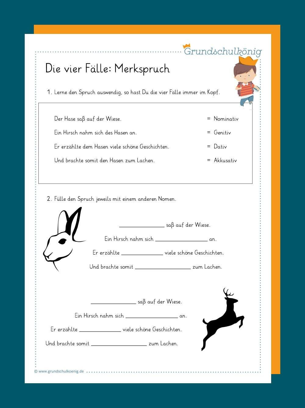 Die 4 Fälle - Merkspruch In 2020 | Unterrichten, Unterricht ganzes Übungsaufgaben Deutsch Klasse 4 Kostenlos