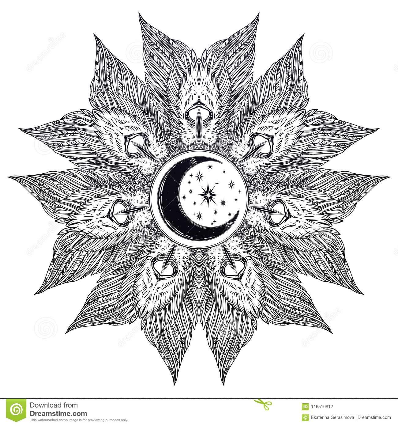 Die Aufwändige Mandala, Die Von Der Dekorativen bei Engel Mandala