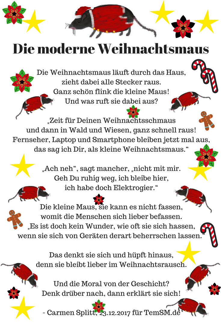 Die Moderne Weihnachtsmaus | Weihnachtsgedichte, Gedicht innen Kleine Weihnachtsgedichte Für Kindergartenkinder