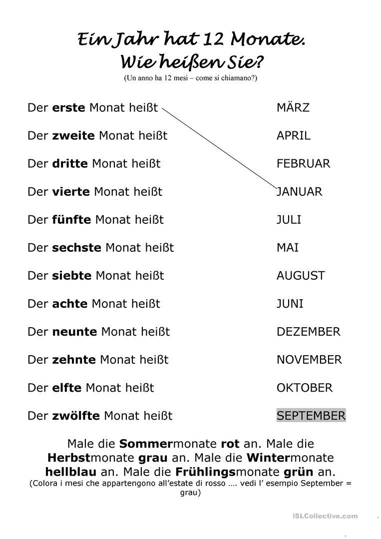 Die Monate - Deutsch Daf Arbeitsblatter innen Monate Arbeitsblatt