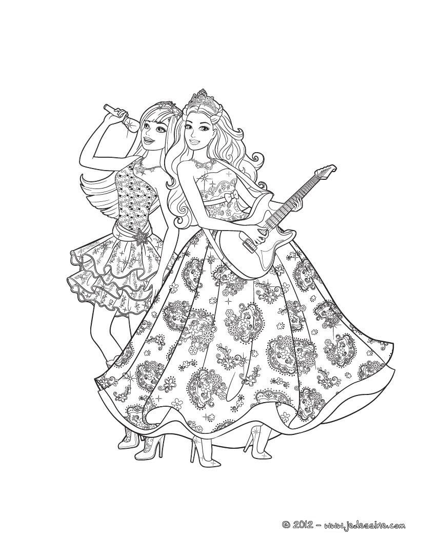 Die Prinzessin Und Der Popstar Druck Zum Ausmalen - De bestimmt für Ausmalbilder Barbie Und Der Popstar