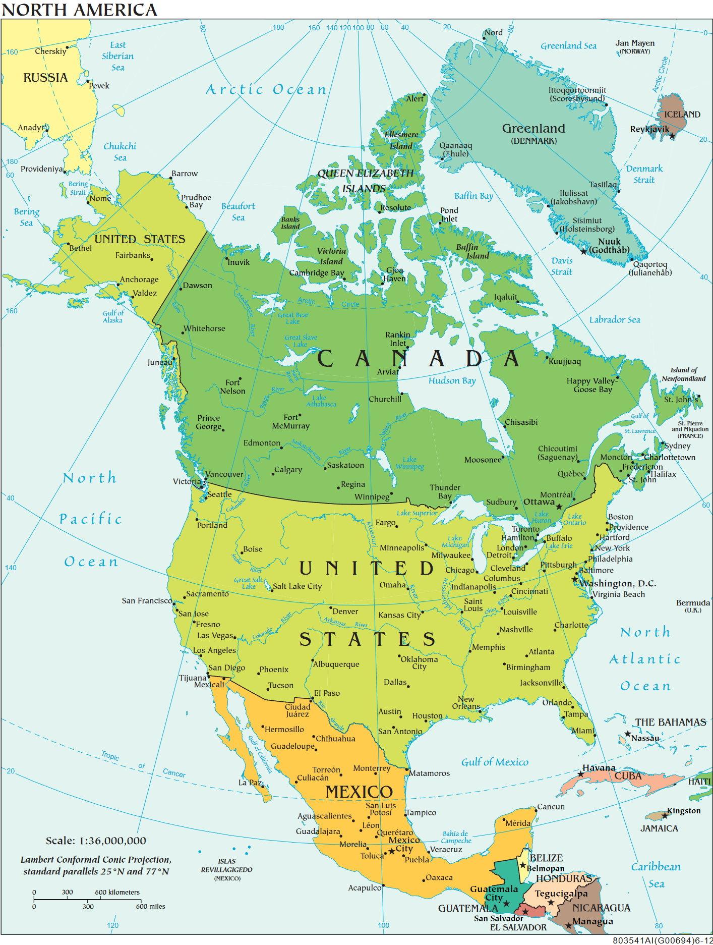 Die Regionale Und Politische Unterteilung Nordamerikas in Nordamerika Karte Mit Staaten Städte