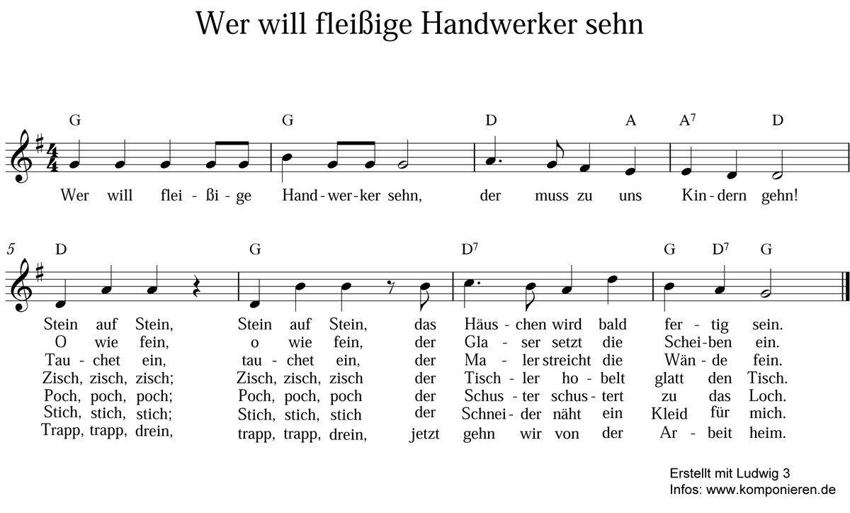 Die Schönsten Kinderlieder Zum Mitsingen: Kinderlieder Texte für Wer Will Fleißige Handwerker Sehn Text