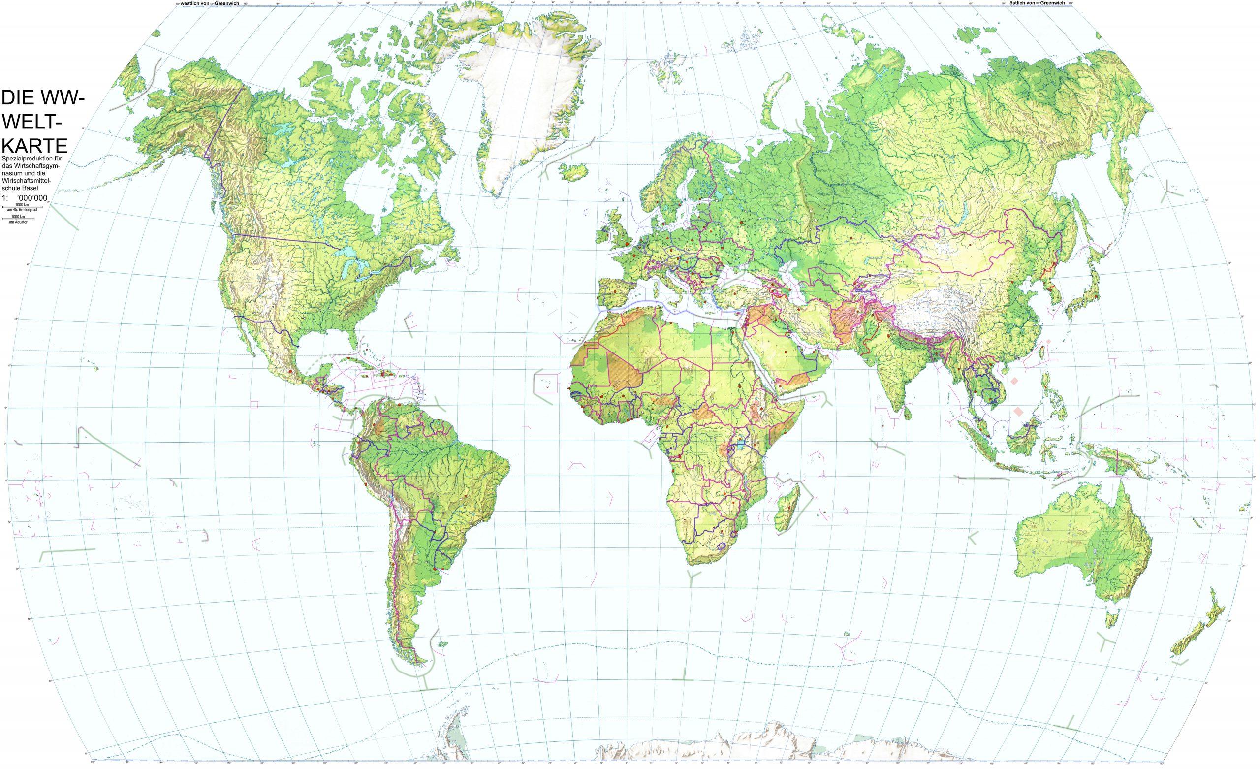 Die Ww-Weltkarte bestimmt für Weltkarte Mit Hauptstädten