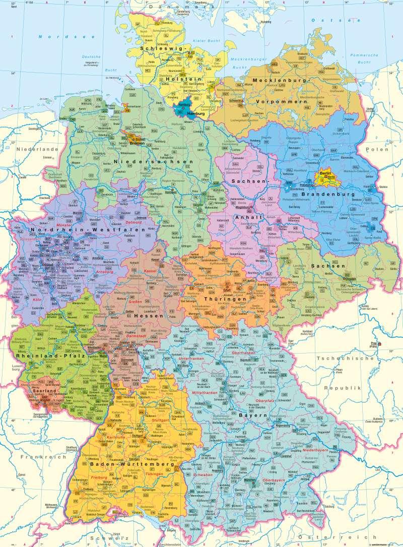 Diercke Weltatlas - Kartenansicht - Deutschland über Deutschlandkarte Mit Bundesländern Und Städten