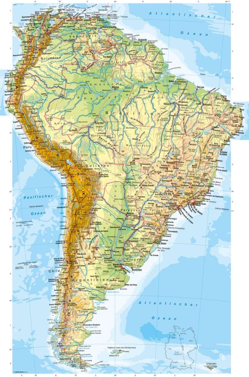 Diercke Weltatlas - Kartenansicht - Südamerika - Physische mit Stumme Karte Südamerika