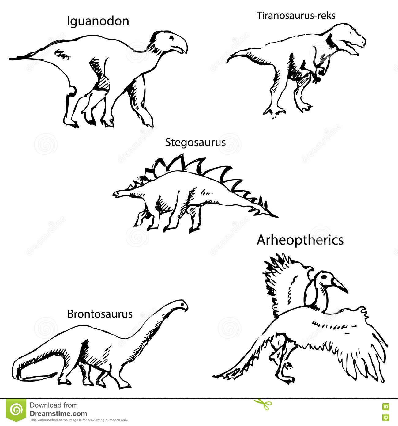 Dinosaurier Mit Namen Bleistiftskizze Eigenhändig Vektor in Dinosaurier Namen Und Bilder