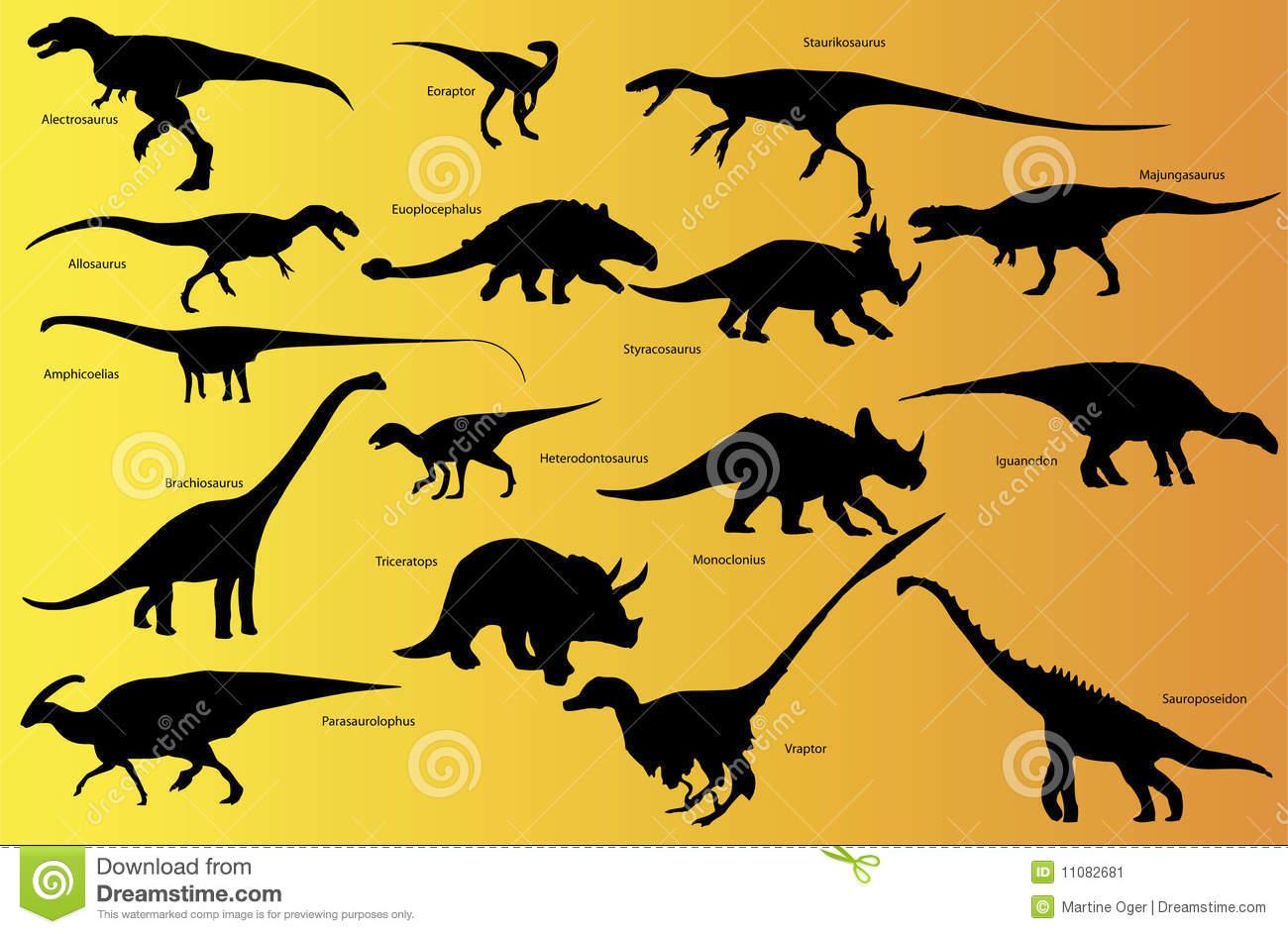 Dinosaurier Mit Namen. Vektor Abbildung. Illustration Von verwandt mit Dinosaurier Namen Und Bilder