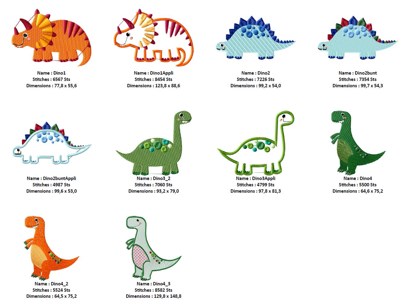 Dinosaurier Stickdateien Set Mit 3 Applikationen [Digital] verwandt mit Dinosaurier Namen Und Bilder