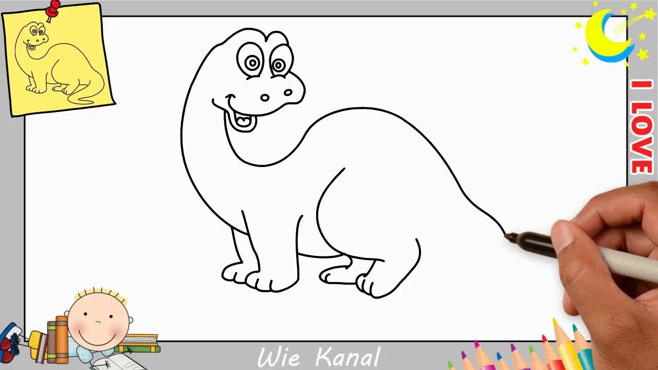 Dinosaurier Zeichnen Lernen Einfach Schritt Für Schritt Für Anfänger &  Kinder 4 ganzes Dino Zeichnen