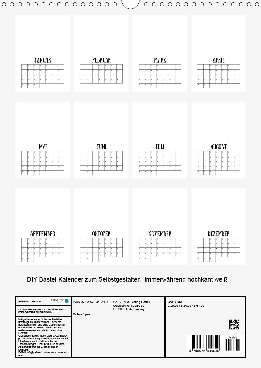 Diy Bastel-Kalender Zum Selbstgestalten -Immerwährend für Immerwährender Kalender Selbst Gestalten