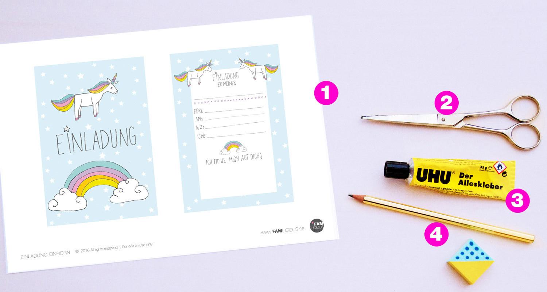 diy // einhorn-einladung zum kindergeburtstag - free für