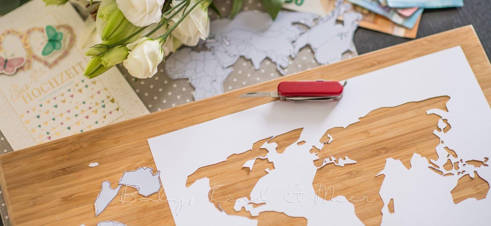 Diy: Geldgeschenk Zur Hochzeit - Diy, Inspirationen - Baby mit Weltkarte Selber Machen
