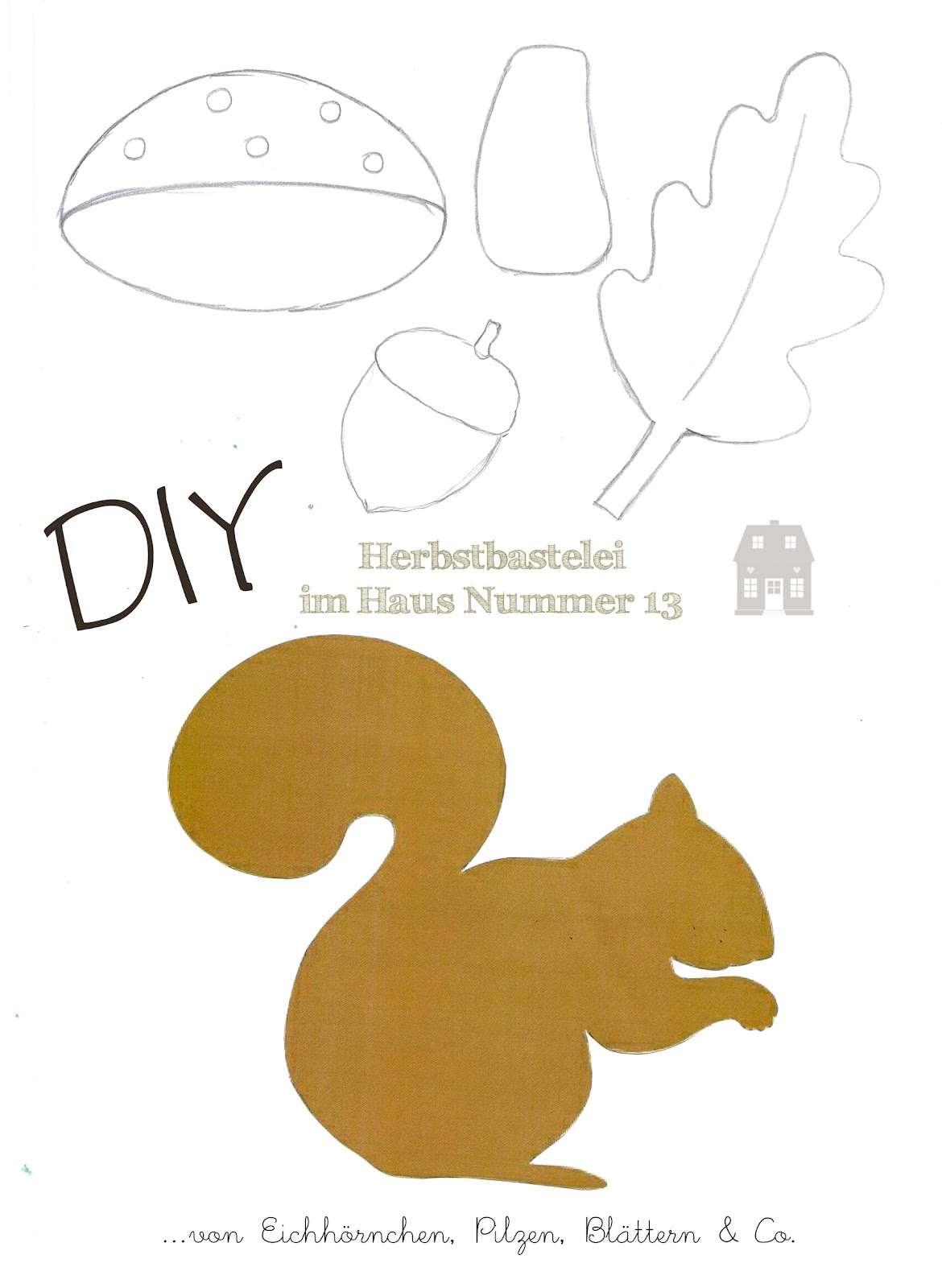 Diy - Herbstbastelei - Haus Nummer 13 bei Eichhörnchen Bastelvorlage