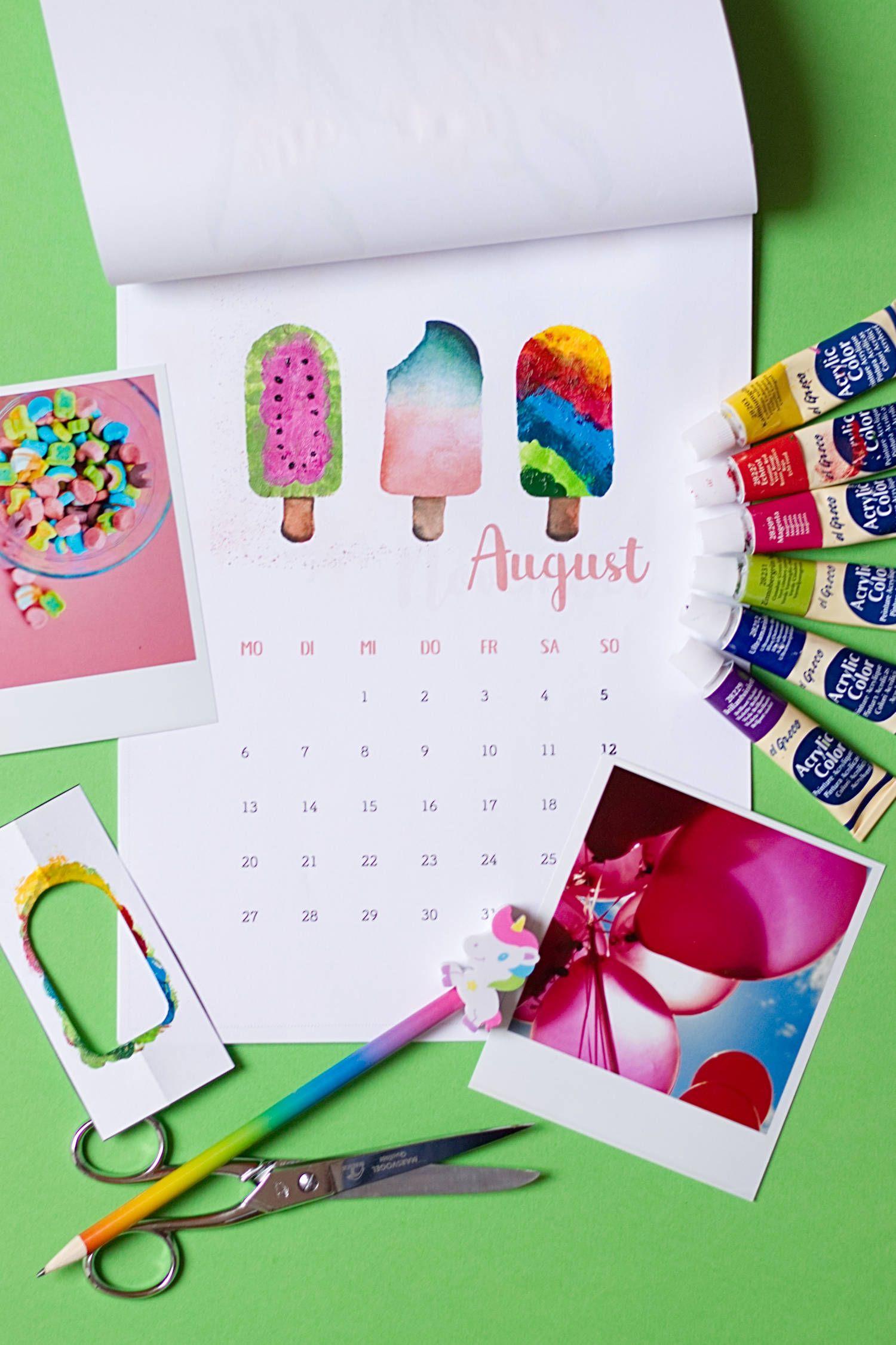 Diy Kalender 2018 Zum Fingerstempeln - Freebie   Kalender für Kalender Basteln Mit Kindern