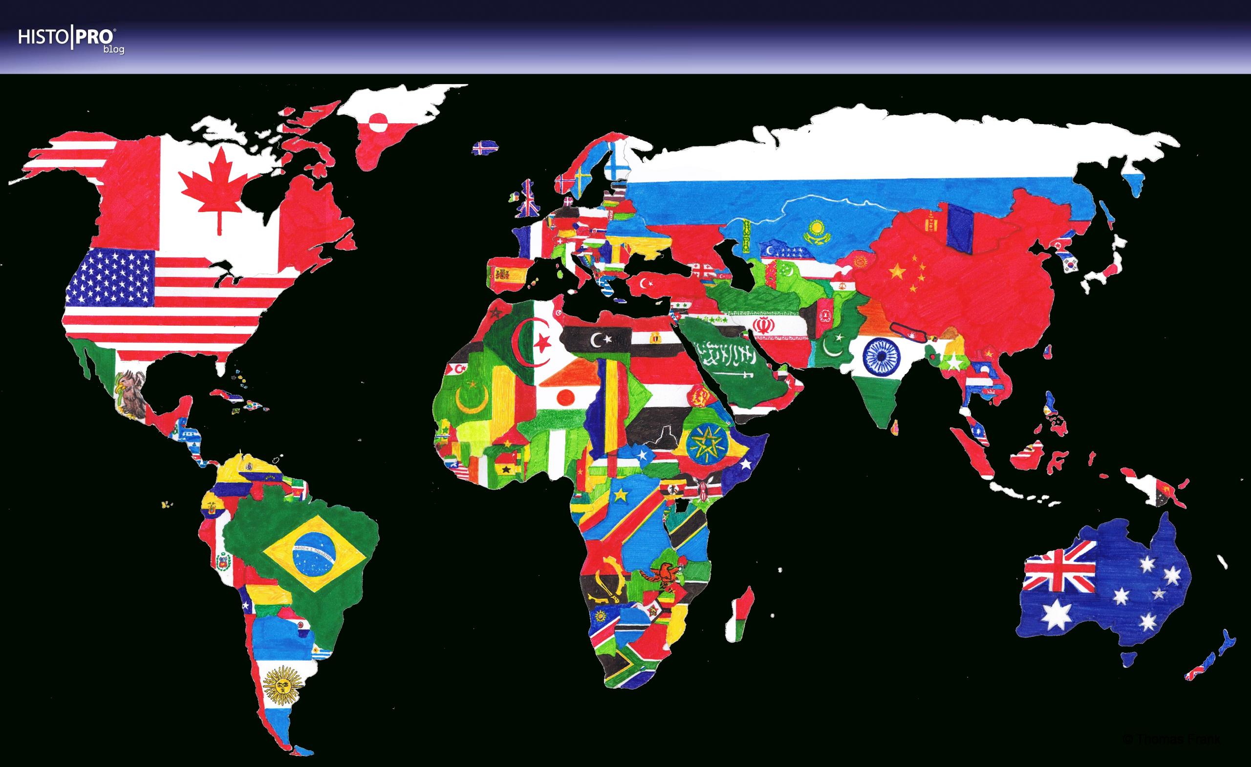 Download: Gemalte Weltkarte Von Thomas Frank | Histoproblog bestimmt für Weltkarte Mit Flaggen