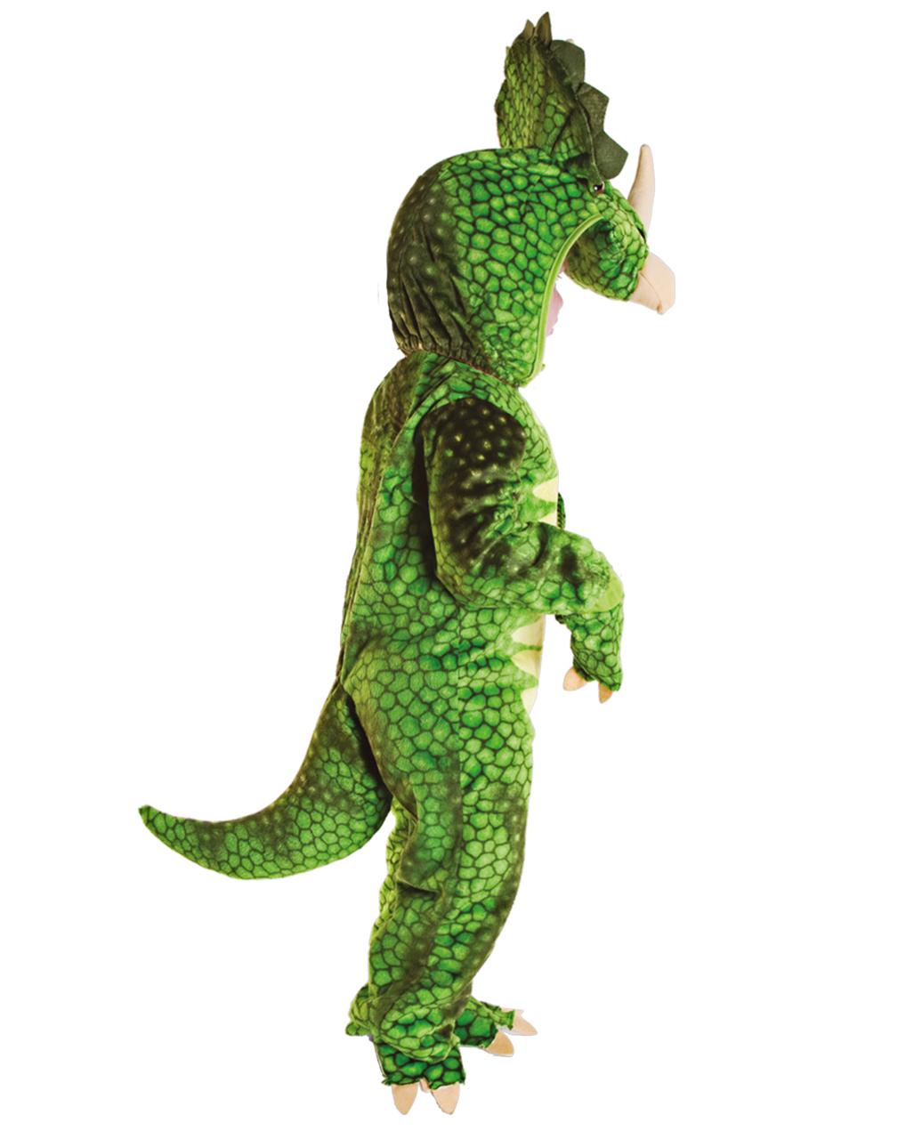 Dreihorn Dino Kleinkinderkostüm Grün über Dreihorn Dinosaurier