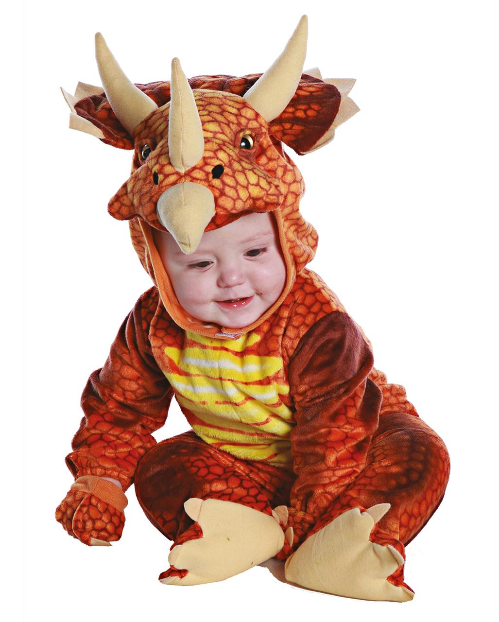 Dreihorn Dino Kleinkinderkostüm Rot bestimmt für Dreihorn Dinosaurier