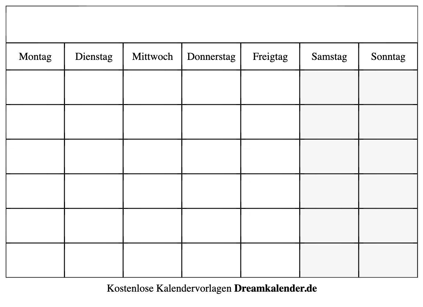 Druckbarer Leerer Kalender - Dream Kalender in Monatskalender Vorlage