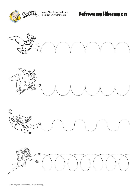 Druckbares Arbeitsblatt: Schwungübungen Für Kinder in Arbeitsblätter Kindergarten Kostenlos Ausdrucken
