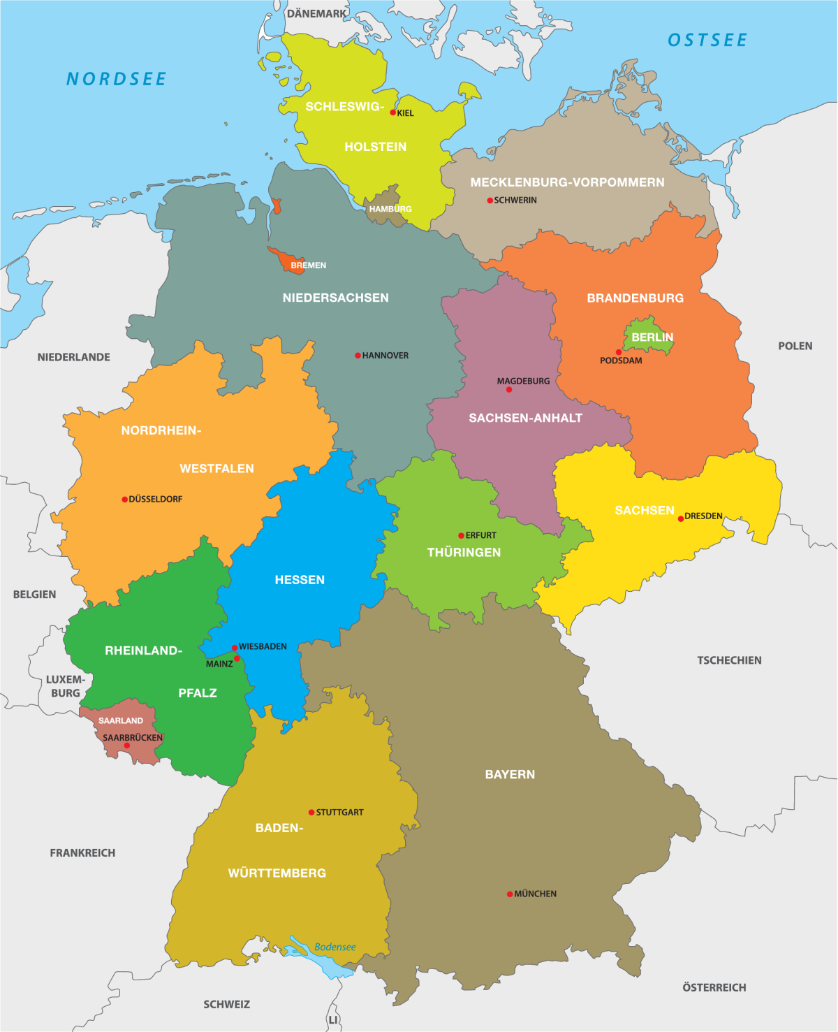 ≡ Deutsche Bundesländer ▷ Einwohnerzahl, Ausländeranteil über Die Deutschen Bundesländer Und Ihre Hauptstädte