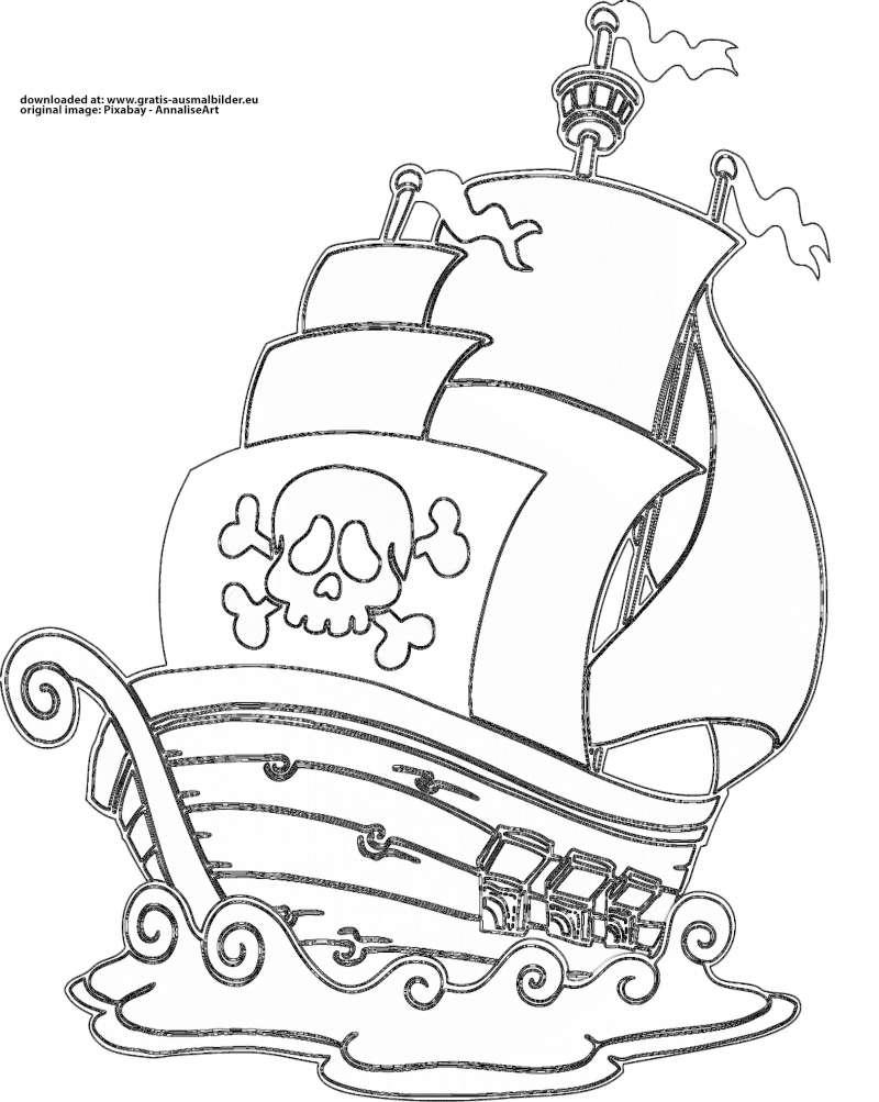 ▷ Piratenschiff - Gratis Ausmalbild in Malvorlage Piratenschiff