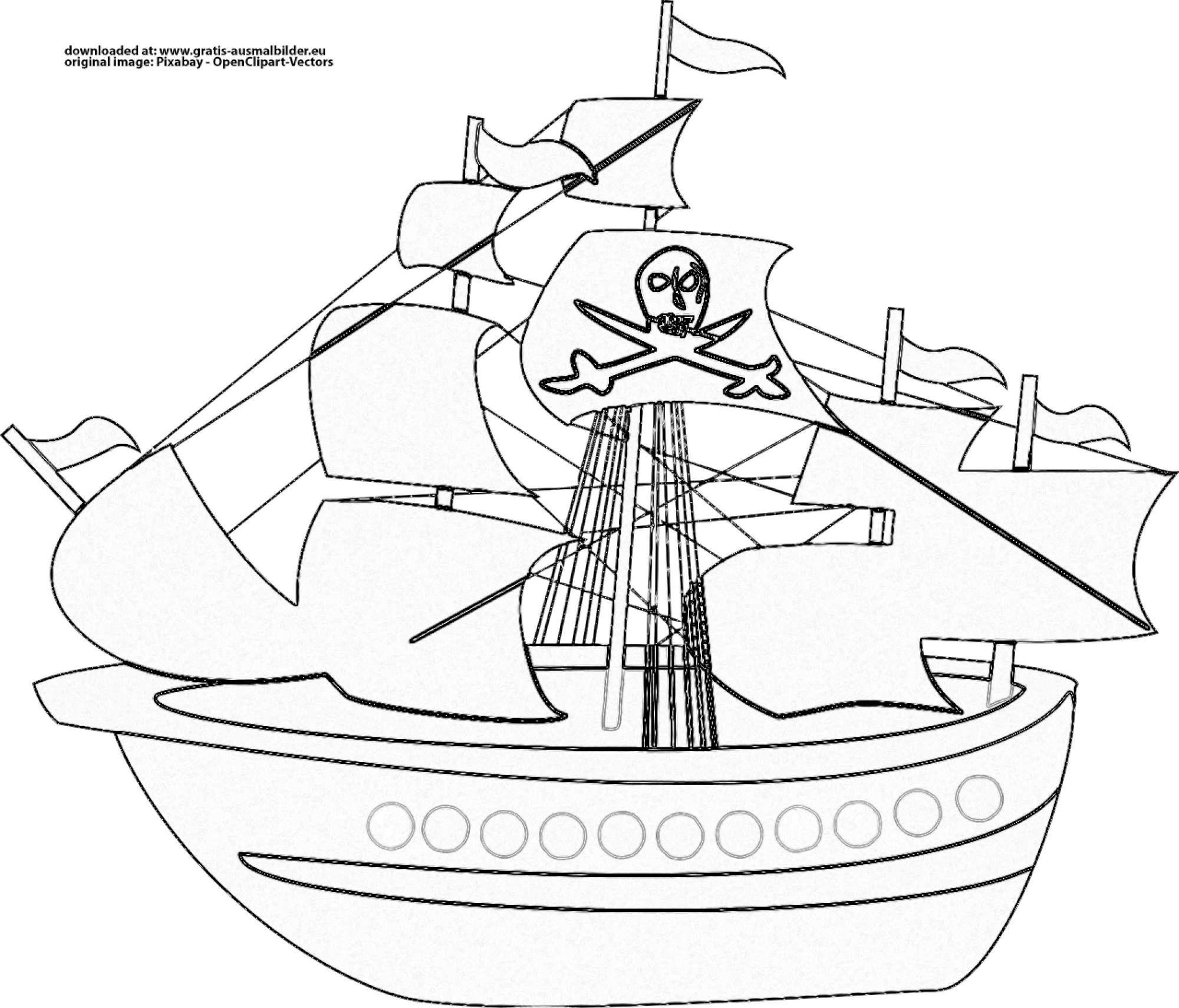 ▷ Piratenschiff - Gratis Ausmalbild verwandt mit Malvorlage Piratenschiff