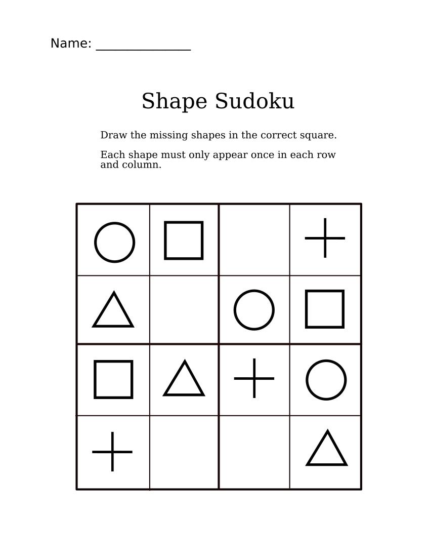 Easy Shapes Sudoku For Kindergarteners | Apprendimento bestimmt für Sudoku Für Kindergartenkinder
