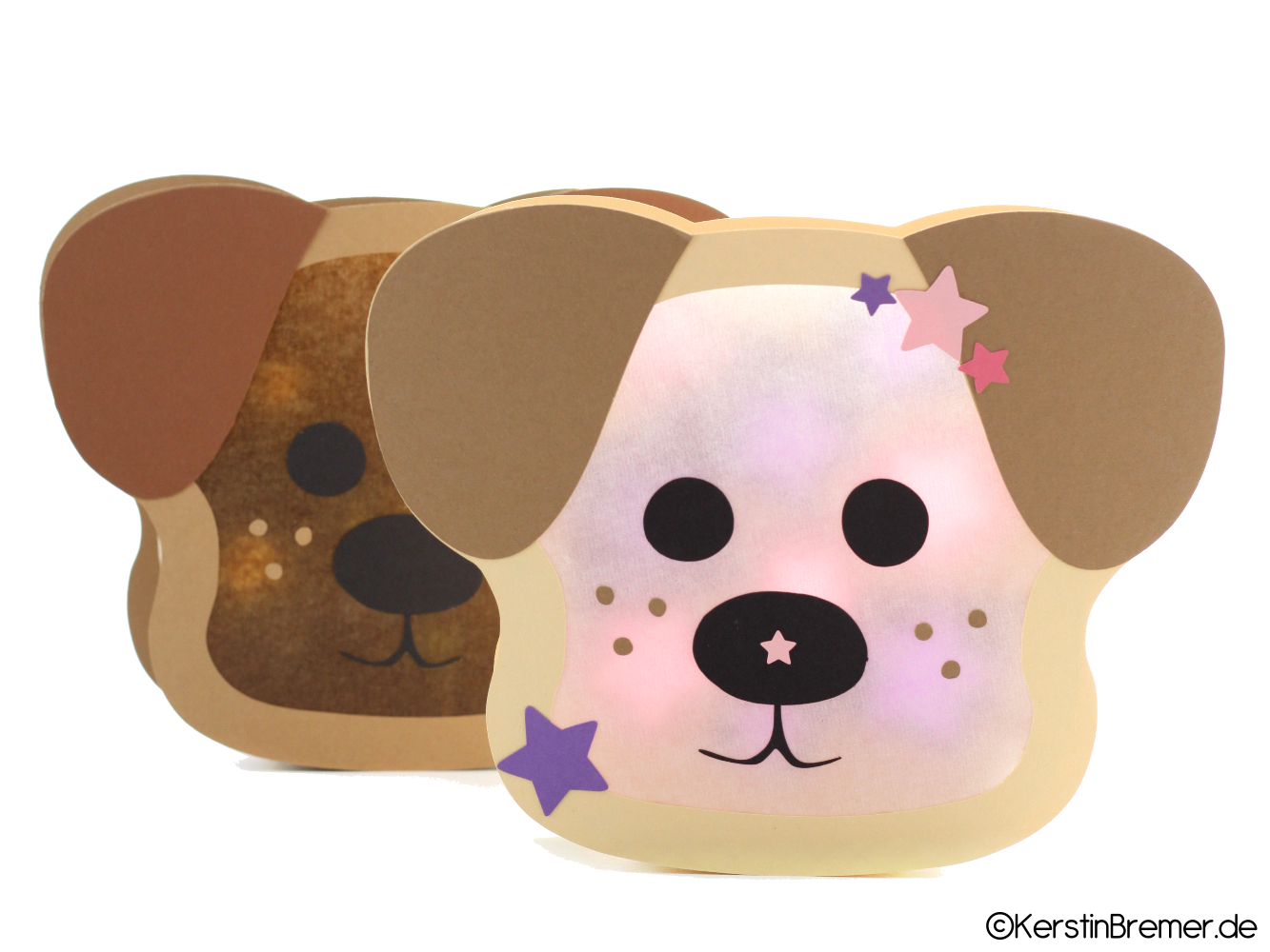 Ebook / Bastelanleitung Hund Georgy Laterne bestimmt für Bastelvorlage Hund