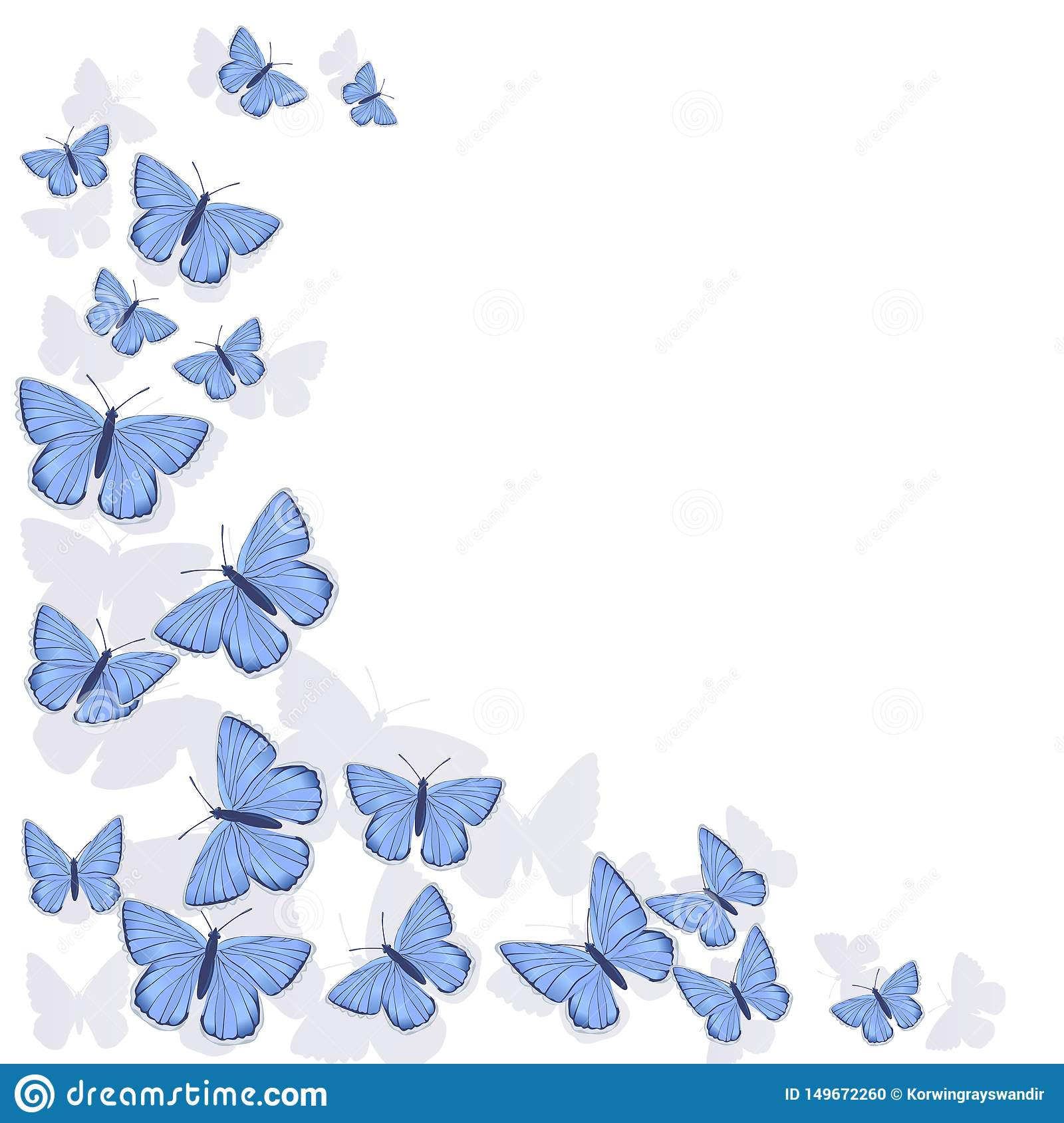 Eckzarge Von Den Blauen Schmetterlingen Lokalisiert Auf bestimmt für Schmetterlinge Clipart