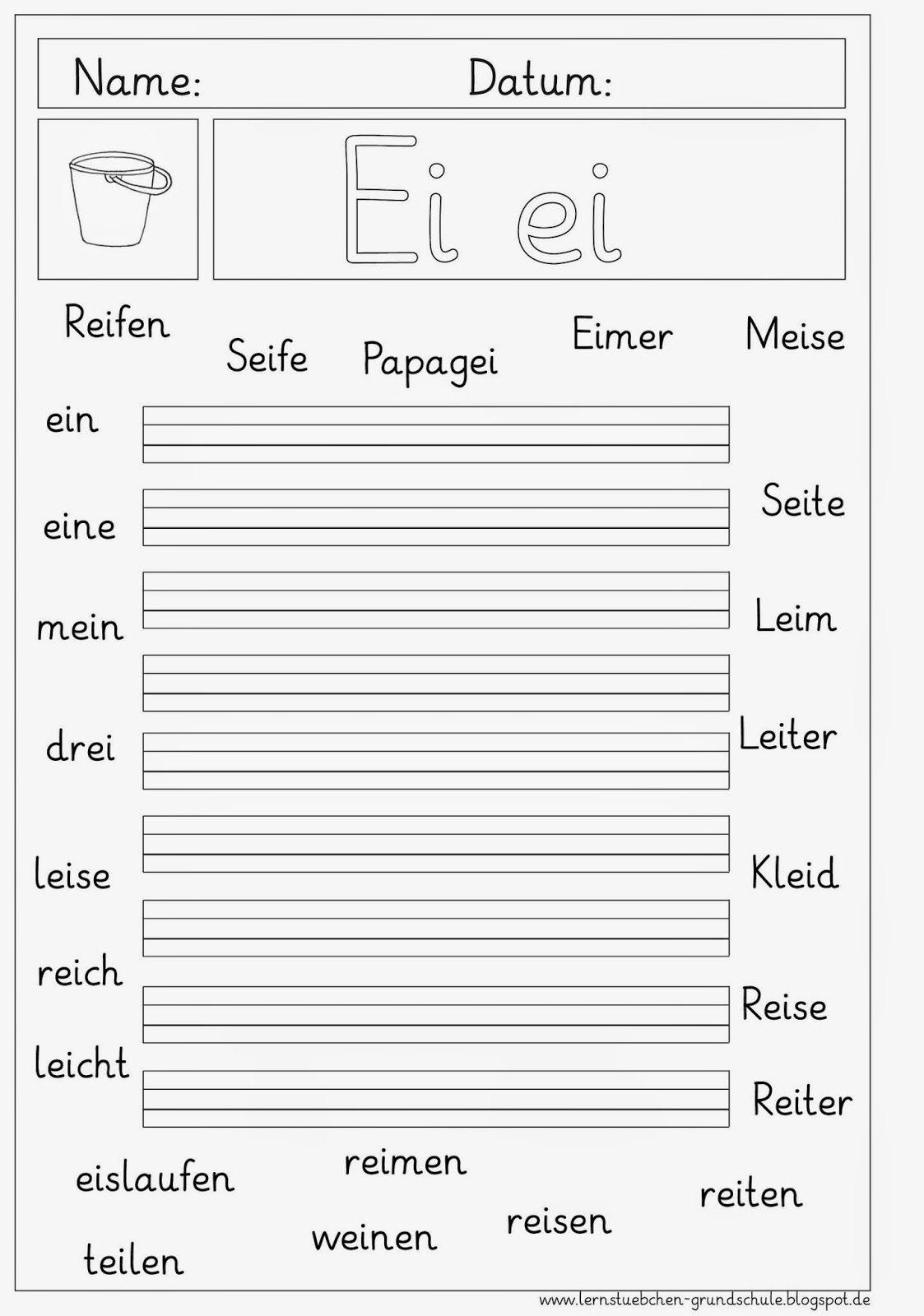 Ei - Ei Erkennen Und Schreiben | Lernen, Lesen Lernen mit Arbeitsblatt Schreiben Klasse 1