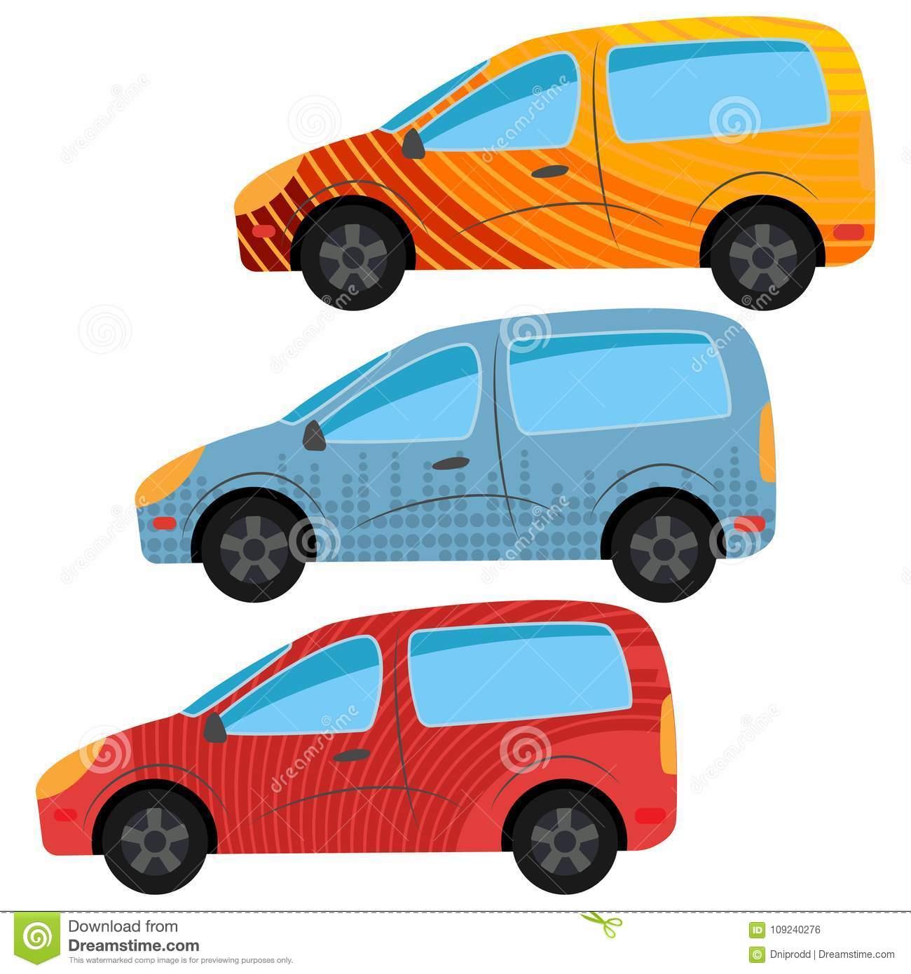 Ein Satz Von Drei Autos Gemalt In Den Verschiedenen Farben für Auto Gemalt