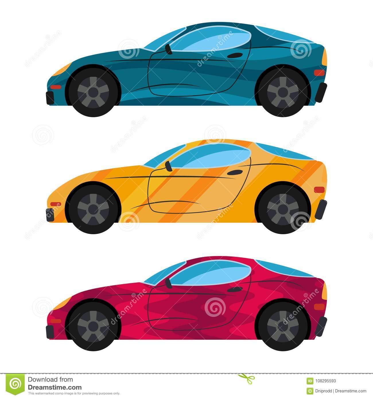 Ein Satz Von Drei Autos Gemalt In Den Verschiedenen Farben in Auto Gemalt