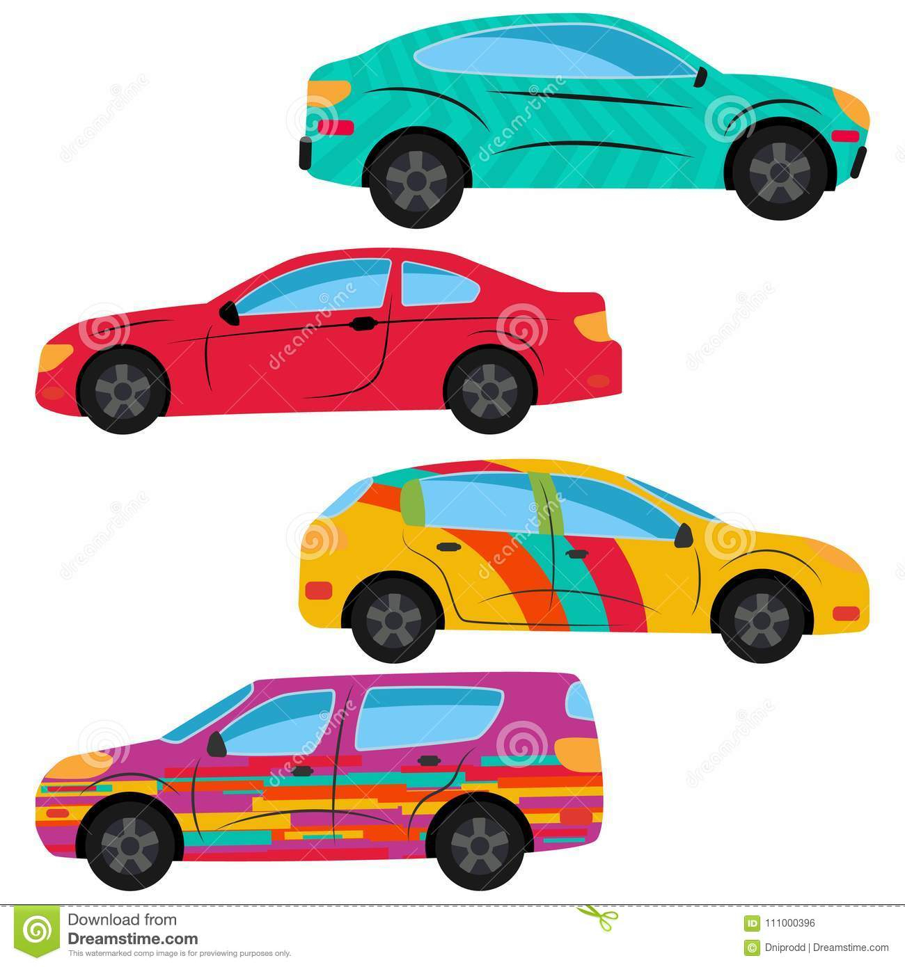 Ein Satz Von Vier Autos Gemalt In Den Verschiedenen Farben verwandt mit Auto Gemalt