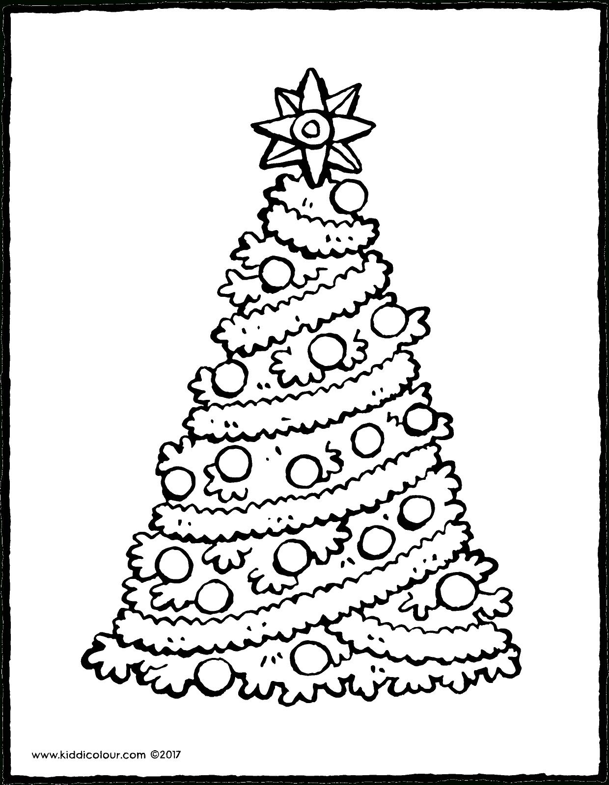 Ein Weihnachtsbaum Mit Einem Großen Stern - Kiddimalseite bestimmt für Malvorlagen Tannenbaum